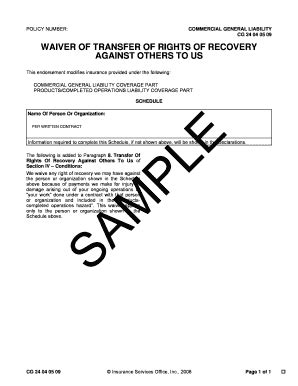 A Sle Of Subrogation Form Fill Online Printable Fillable Blank Pdffiller Waiver Of Subrogation Template