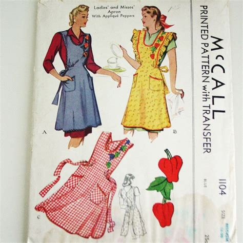 pattern for vintage apron vintage apron pattern 1940 s mccall 1104 printed pattern
