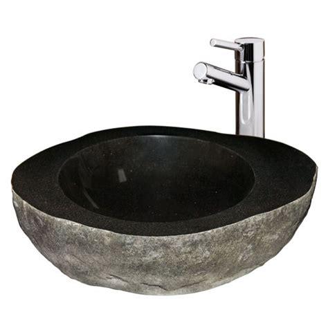 black vessel faucet black granite boulder vessel bathroom