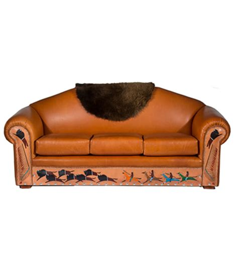 Native American Sofa With Painted Buffalo Hunt