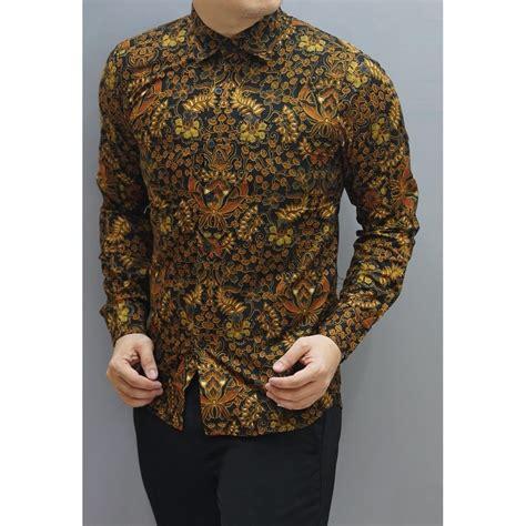 wishop baju kemeja batik pria modern lengan panjang