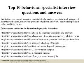 top 10 behavioral specialist questions and answers