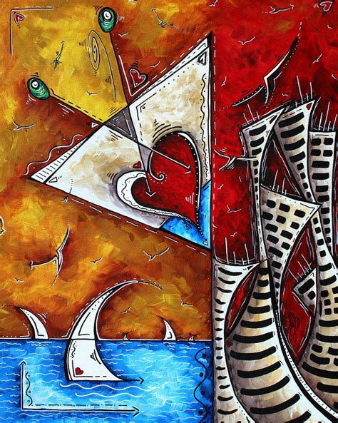 martini glass acrylic painting coastal martini cityscape contemporary original