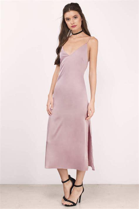 Satin Dress mauve midi dress purple dress v neck dress 54 00