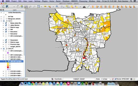 membuat layout di qgis proses pemetaan banjir jakarta dengan perangkat lunak
