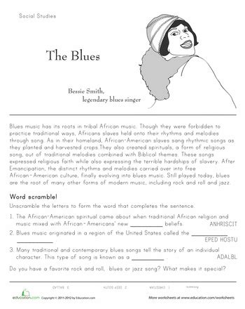 history of the blues back to school music worksheets