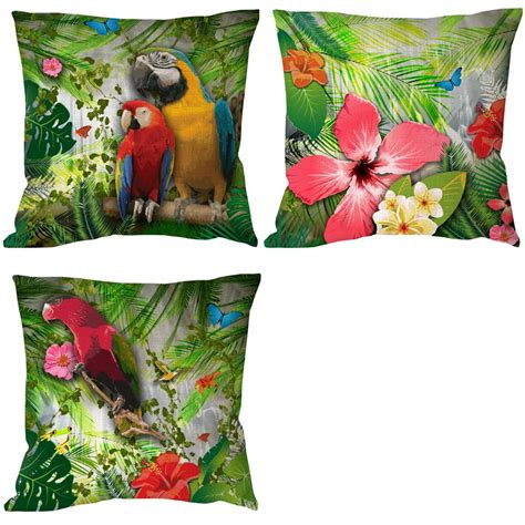 Parrot Decorations Home Parrot With Flora Printed Customized Animal Bird Cushion Cover Decoration For Home And Sofa