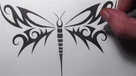 drawn dragonfly tribal pencil and in color drawn