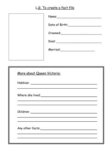 Fact Card Template by A Blank Fact File Template By Ljj290488 Teaching