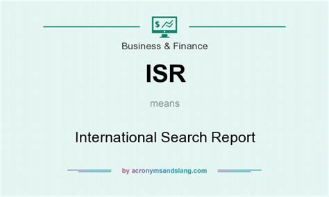 Overseas Search Isr International Search Report In Business Finance By Acronymsandslang