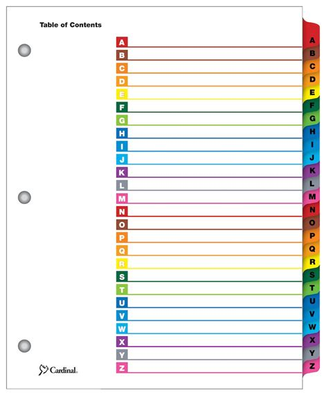 Onestep 174 Printable Table Of Contents Dividers A Z Multicolor Office Depot Table Of Contents Template