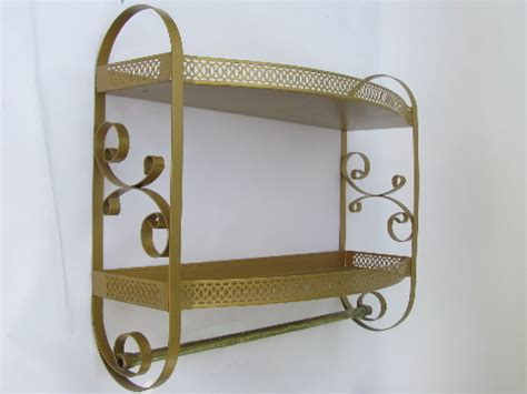 Vintage Bathroom Shelves Vintage 50s 60s Gold Scrolls Tole Metal Bath Bathroom Shelves W Towel Rod