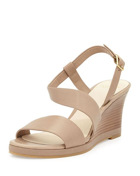 beige wedge sandal cole haan ravenna leather wedge sandal in beige lyst