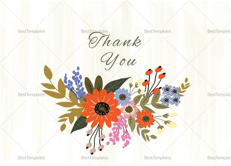 thank you card illustrator template summer floral thank you card design template in