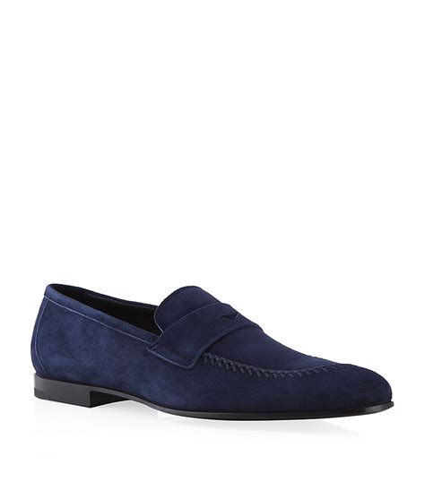 armani loafers for giorgio armani suede loafer in blue for lyst