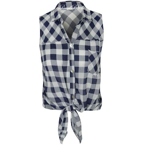 Chece Blouse womens check shirt lumberjack sleeveless knot tie