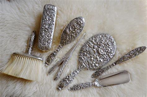 Antique Silver Vanity Set by Antique Co Sterling Silver Vanity Set Floral