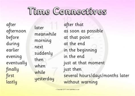 Connective Word Mat by Time Connectives Conjunctions Word Mats Sb11831 Sparklebox
