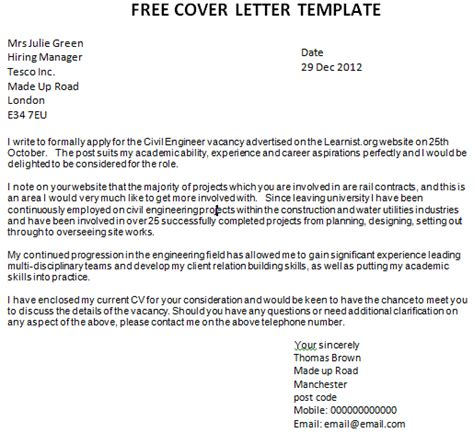 Free Cover Letter by Post Reply