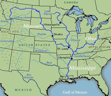 us map states mississippi river mississippi