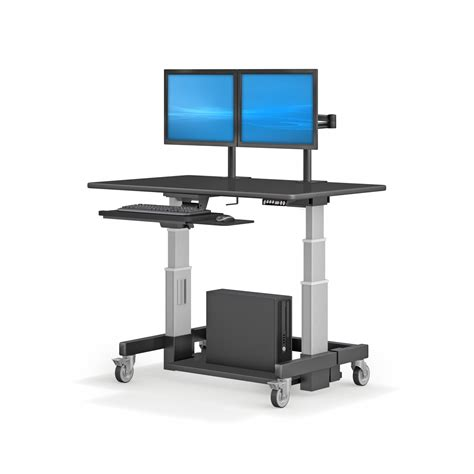 Computer Desk Image Height Adjustable Ergonomic Computer Workstation Desk With Dual Monitors Support Minimalist