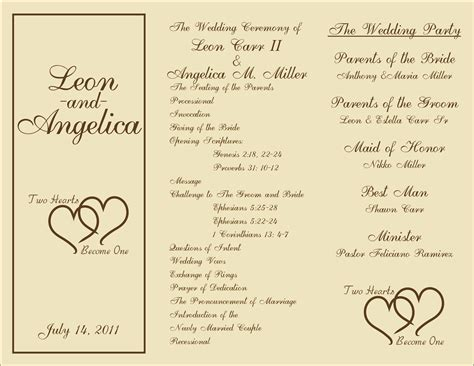 programs for wedding ceremony template free printable wedding programs templates sle