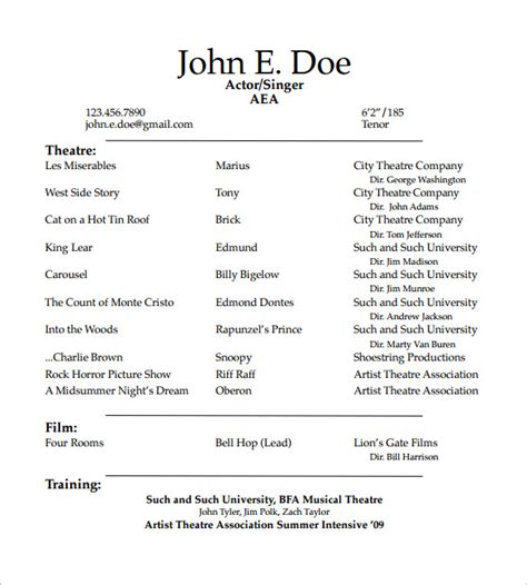 actors resume template 11 acting resume templates free sles exles
