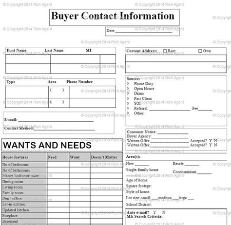 real estate information sheet template buyer contact form gold tools for real estate agents