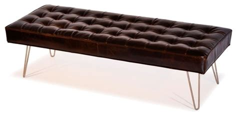 Mid Century Modern Dark Brown Button Tufted Leather Tufted Upholstered Ottoman Coffee Table
