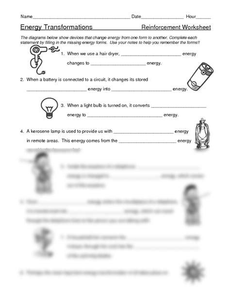 Energy Conversions Worksheet by Worksheets Energy Conversions Worksheet Opossumsoft