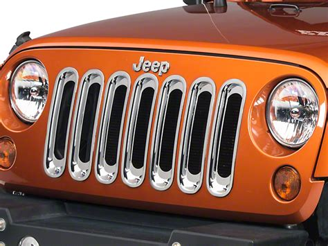 rugged ridge grille inserts jeep jk rugged ridge wrangler chrome grille inserts 11306 20 07 17 wrangler jk free shipping