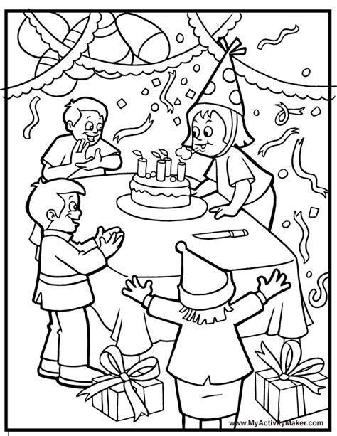 free coloring pages birthday party coloring pages holidays events my activity maker