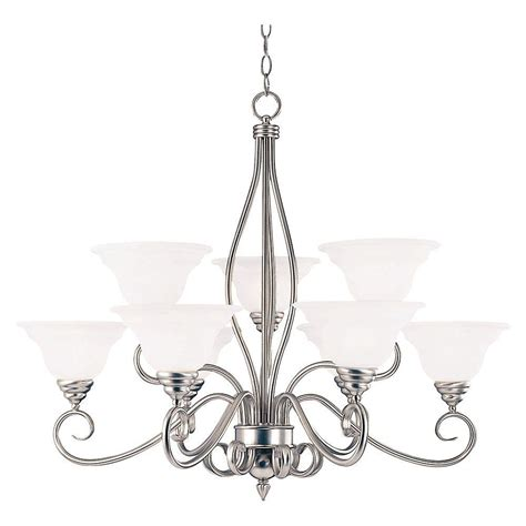 Illumine 5 Light Pewter Chandelier With White Candle Candle Chandelier Home Depot