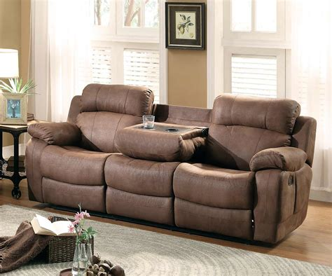 Homelegance Marille Double Reclining Sofa with Center Drop