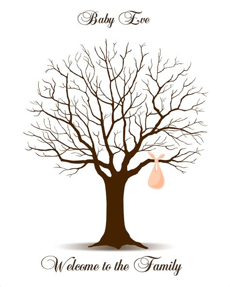 the gallery for gt fingerprint tree template baby shower