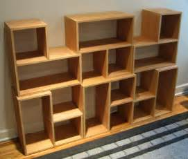 set of six wooden modular stacking shelves