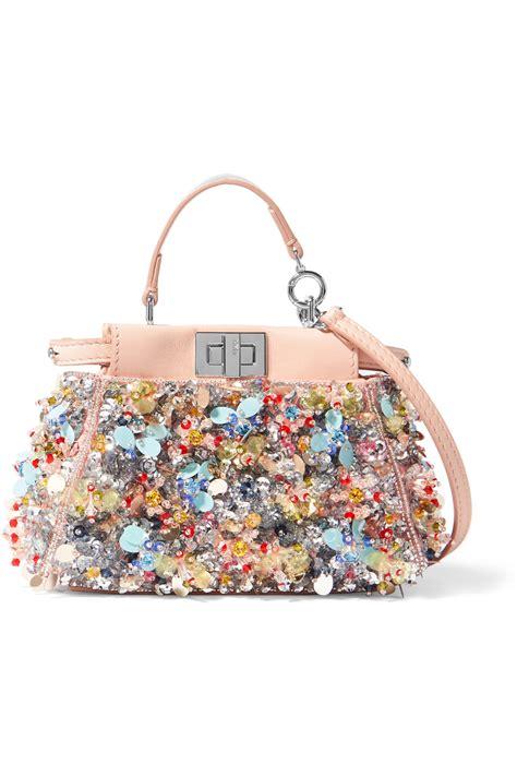 Fendi Coral Pink Embossed Satin Handbag by Fendi Peekaboo Micro Embellished Satin Twill Shoulder Bag
