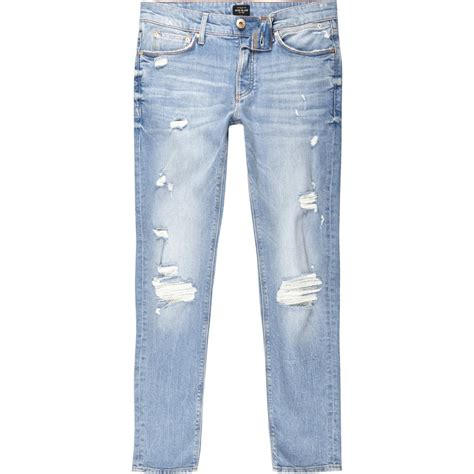 light wash jeans mens river island mens light blue wash sid distressed