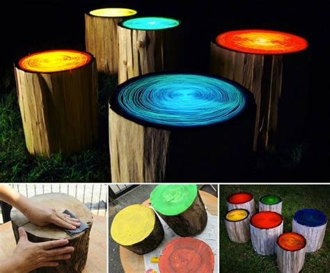 Diy Craft Projects For The Yard And Garden - wonderful diy glowing in the dark log campfire stools