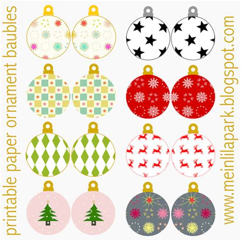 free printable christmas ornaments baubles