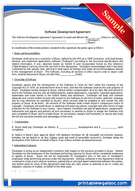 software agreement template free printable software development agreement form generic