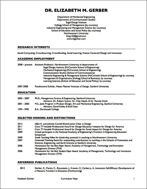 resume or cv exles college professor curriculum vitae exles 28 images
