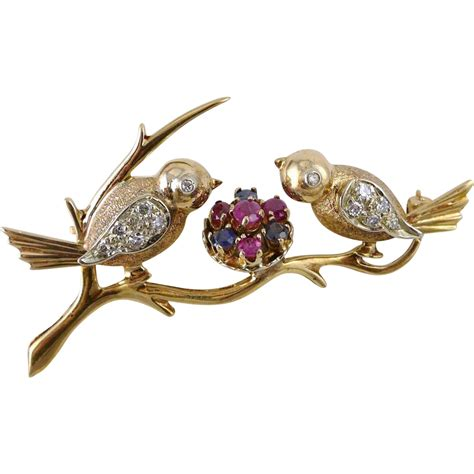 One Treasure Pin vintage retro 14k gold sapphire and bird brooch pin purrfect treasures ruby