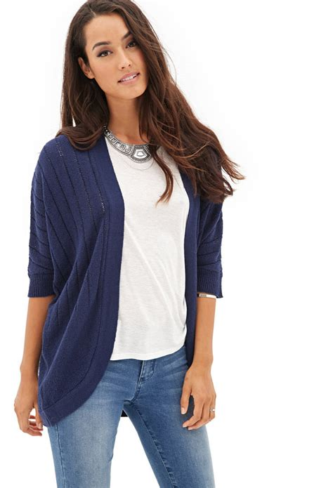 knit cardigan forever 21 forever 21 knit dolman cardigan in blue midnight lyst