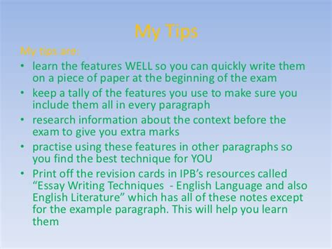 Essay Writing Techniques In by Writing Essay Techniques