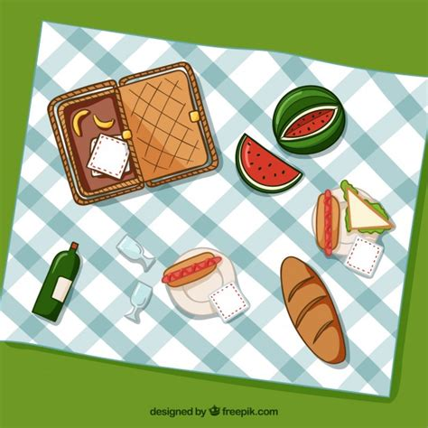 Picnic Top basket with picnic elements and food in top view vector