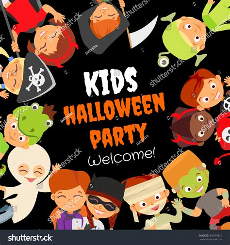 funny halloween party design concept happy stock vector