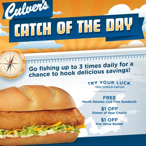 Culver S Instant Win Game - culver s catch of the day game win a free north atlantic cod filet sandwich money