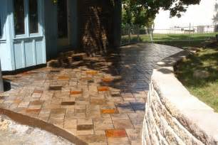 Low Cost Backyard Ideas Concrete Patio Ideas Patio With Colored Concrete Stamped
