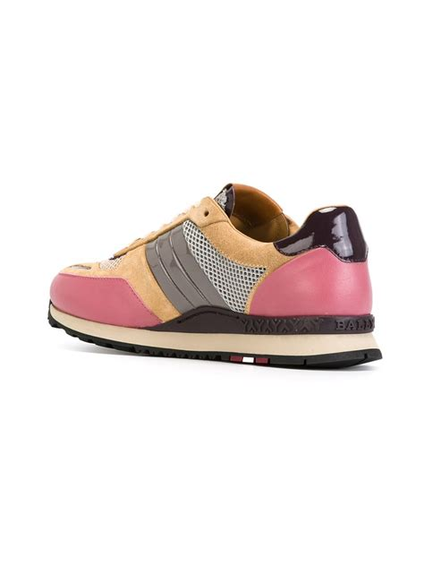 bally sneakers womens bally lace up sneakers in beige pink purple lyst